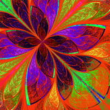 Beautiful multicolor fractal flower in stained glass window styl Royalty Free Stock Images