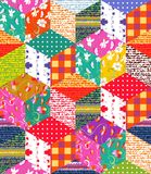 Beautiful multicolor patchwork blanket. Handmade carpet. Scrappy cover. Vector illustration Stock Image