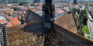 Beautiful multicolor roof of Cathedral St. Elizabeth. Stock Image