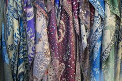 Front view of Elegant silk scarves stock images