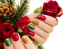 Beautiful multicolored manicure. Royalty Free Stock Image