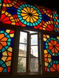 Beautiful multicolored mosaic window in Tbilisi. View stock images