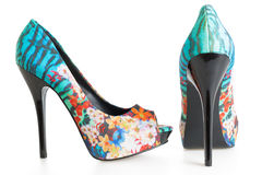 Beautiful multicolored stiletto shoes on white Stock Images