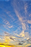Beautiful multicolored sunset. HDR image. Beautiful multicolored sunset with clouds different shapes. HDR image Royalty Free Stock Photography