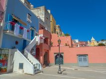 Beautiful multicoloured houses of Procida, Mediterranean island, royalty free stock images