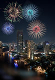 Beautiful Multiple fireworks display exploding over the River City Royalty Free Stock Photos