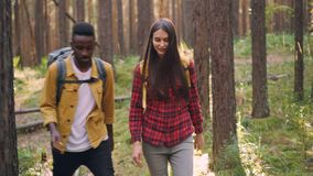Beautiful multiracial couple African American guy and Caucasian girl are walking together in forest hiking and talking stock footage