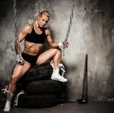 Beautiful muscular bodybuilder woman Royalty Free Stock Photos