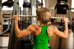 Beautiful muscular fit woman exercising building muscles in fitn Royalty Free Stock Photos