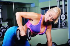 Beautiful muscular woman exercising in gym. Beautiful muscular woman exercising in a gym Royalty Free Stock Photo