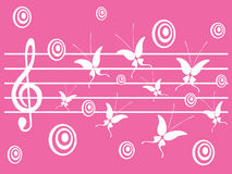 Beautiful music. Illustration with violin key and butterfly Royalty Free Stock Photography