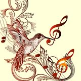 Beautiful music background with hummingbird and treble clef stock illustration