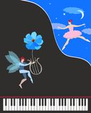 Beautiful music card or poster. Black concert grand piano, cute winged dancing fairy in pink tutu and elf with flower - lyre. Starry night, the moon and vector illustration