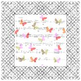 Beautiful musical card with notes and butterflies. Vector illust Royalty Free Stock Image