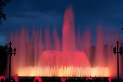 Musical fountain in Barcelona stock images