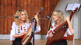 Beautiful musician twin sisters Royalty Free Stock Photography