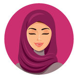 Beautiful muslim arab woman in hijab closing her eyes vector flat icon avatar. Beautiful face of arabic muslim woman. Portrait of. Beautiful fashion young arab Royalty Free Stock Photo