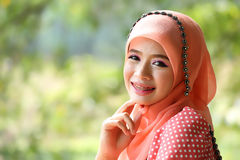 Beautiful muslim girl pink hijab wearing fashion Royalty Free Stock Images