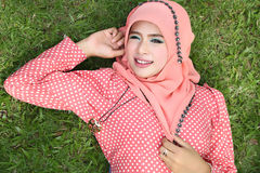 Beautiful muslim girl pink hijab wearing fashion Stock Photo