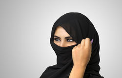 Beautiful Muslim girl wearing burqa closeup Stock Photo