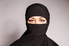 Beautiful Muslim girl wearing burqa closeup Stock Photography