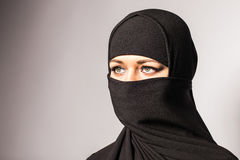 Beautiful Muslim girl wearing burqa closeup Royalty Free Stock Photos