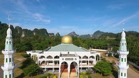 Beautiful Muslim Mosque HD Aerial view. Thailand. stock video
