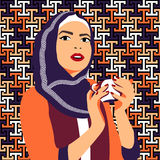 Beautiful muslim woman drinking coffee stock illustration