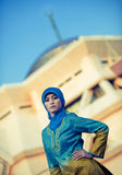 Beautiful muslim woman in front of mosque Royalty Free Stock Images