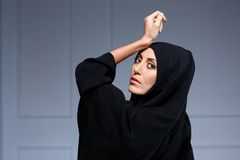 Beautiful muslim woman posing in chador Royalty Free Stock Images
