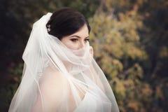 Beautiful mysterious bride stock image