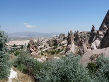 Beautiful and mysterious Cappadocia, Turkey. The land of Cappadocia offers strange looking rocks, shocking landscapes and fun. One of the most beautiful regions stock image