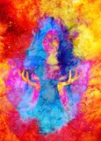 Beautiful mysterious girl in cosmic space and Softly blurred watercolor background. vector illustration