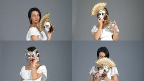 Beautiful mysterious girl with Venetian mask. Collage stock footage