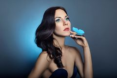 Free Beautiful Mysterious Woman With Butterflies Blue Color On Her Face, Brunette And Paper Artificial Blue Butterflies On The Girls Royalty Free Stock Photos - 130623608