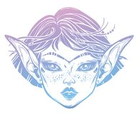 Beautiful mystic girl. Young elf magic woman with long ears, unibrow and hair blown by the wind. Alchemy, tattoo art, t-shirt design, adult coloring book page vector illustration