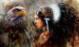 Beautiful mystic painting of a young indian woman with eagle and feather headdress, profile portrait, abstract background Royalty Free Stock Image