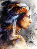 Multicolor Illustration, Beautiful mystic painting of a young indian woman with feather headdress profile portrait. Beautiful painting of a young mystic indian Stock Photos
