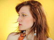 Beautiful mystic woman with golden make-up Royalty Free Stock Photography