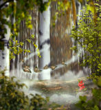 Beautiful mystical background photo montage with a birch grove Royalty Free Stock Image