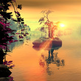 Beautiful mystical golden sunset Stock Photos