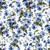 Beautiful n pattern with blue flowers on white fon1. Beautiful n pattern with blue flowers on white fon Stock Photo
