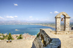 Beautiful Nafplio, Greece. A view of the city of Nafplio in Greece from Palamidi castle. Nafplio was the first capital of Greece royalty free stock image