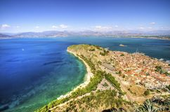 Beautiful Nafplio, Greece. An aerial view of the gorgeous city Nafplio, in Greece which was the first capital of Greece. Palamidi castle and Bourtzi are some of stock photography