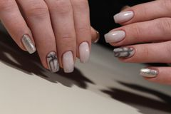 Beautiful Nail Art Manicure. Nail designs with decoration Royalty Free Stock Photography