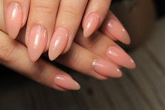 Beautiful Nail Art Manicure. Nail designs with decoration. stock photo