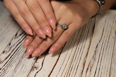 Beautiful Nail Art Manicure. Nail designs with decoration. stock photos