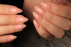 Beautiful Nail Art Manicure. Nail designs with decoration. royalty free stock photos