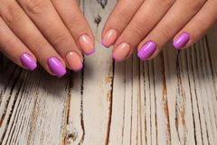 Beautiful Nail Art Manicure. Nail designs with decoration. royalty free stock photography
