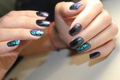 Beautiful Nail Art Manicure. Nail designs with decoration.Manicure nail paint. Nail Care And Stock Photography